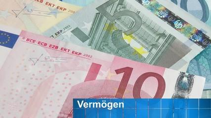 Geldscheine und Vermögen - Konzept Video