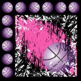 Fototapety Basket black and pink grunge background