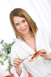 Breakfast - Happy woman with toast and marmalade poster