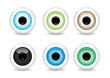 Set of 6 different glossy eye balls vector illustration