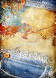 Fototapety grungy torn paper-denim background