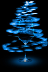 Blue abstract wine glass lights