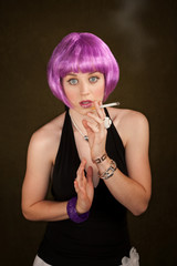 Woman with Purple Hair Caught Smoking