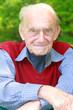 Rüstiger Rentner in grüner Natur - Portrait