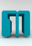 isolated letter M 3D azur computer letter front of