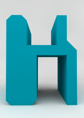 isolated letter H 3D azur computer letter front of