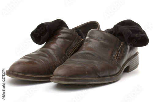 brown leather shoes and black socks cottony