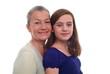 Lachende Mutter mit Tochter zusammen. Sample text.
