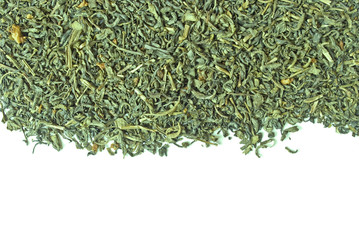 Scattering of green tea isolated on white