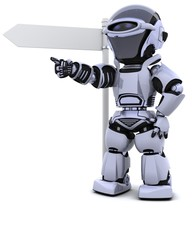 robot at a signpost