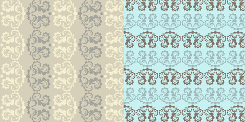 Set of 2 classic decorative seamless backgrounds