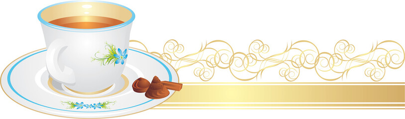 Cup with tea and candies on the golden ribbon. Vector