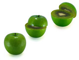 The transformation of green apples in kiwi poster
