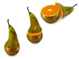 The transformation of pears in orange poster