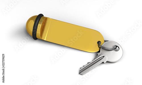 Hotel key with golden keyring
