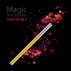 Beautiful vector magic background with wand
