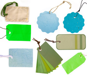 blue and green tags