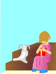 Child sitting on step with gift in her hands, bunny there also