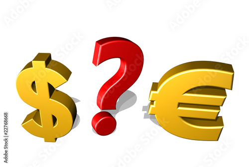 Sfida Euro e Dollaro-Dollar Euro and Question Mark