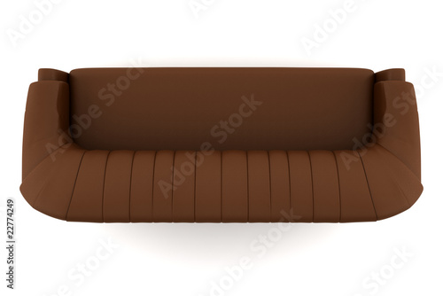 top view of brown leather sofa isolated on white
