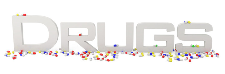 Capsules and Drugs isolated on white