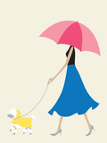 Umbrella Girl Walking the Dog
