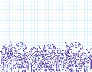 Doodles with grass and lily of the valley