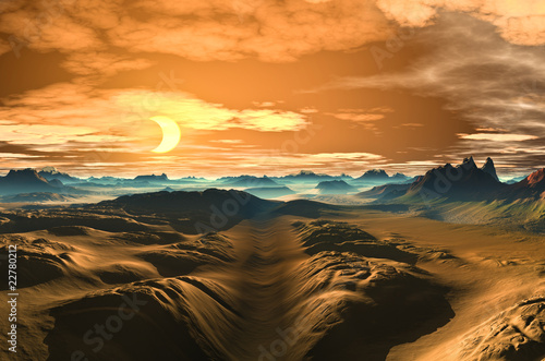 Fototapeten,mond,goldene,landschaft,himmel