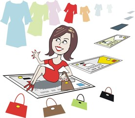 Smiling woman shopper cartoon