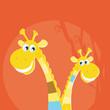 roleta: Safari animals - big and small giraffe. VECTOR