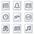 Organizer web icons, white stamp series
