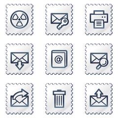 E-mail web icons set 2, white stamp series