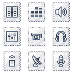 Media web icons, white stamp series
