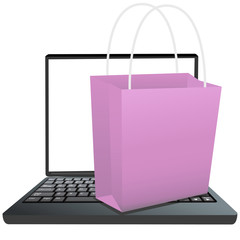 Shopping Bag on Keyboard of Laptop to Shop Online