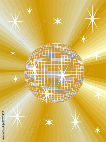 Gelbe Discokugel mit abstraktem Hintergrund