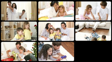Collage of footage showing happy families at home