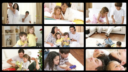 Collage of family everyday life in HD