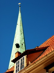 Tile roof and church tower