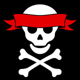 Skull with crossbones and red banner poster