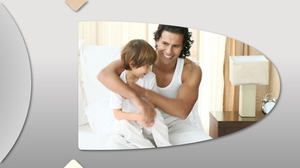 Montage presenting caring father having fun with his child