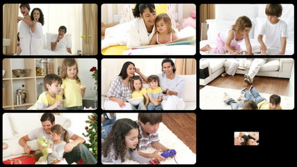 Montage of lively families having fun