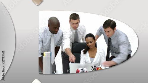 Montage presenting confident business team at work