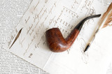 Nineteenth century letter with feather and tobacco pipe