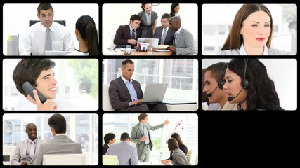 Montage presenting multi-ethnic business team at work