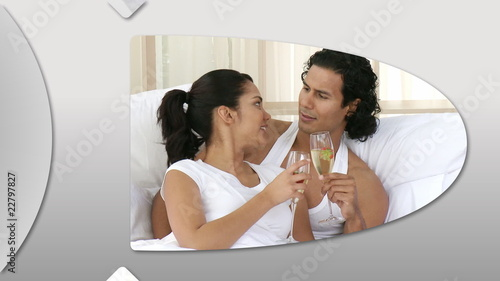 Montage presenting enamored couples at home