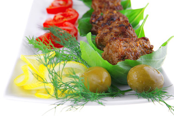 meat cutlets and vegetables