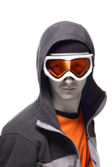 Portrait of snowboarder in orange glasses isolated on white