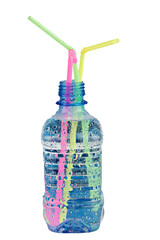 plastic bottle with water drops and colored straws