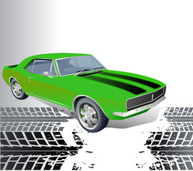 Old American Muscle car vector background