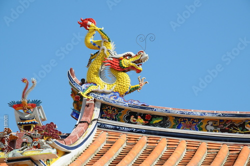 Dragon Craving On The Eave Of A Chinese Temple